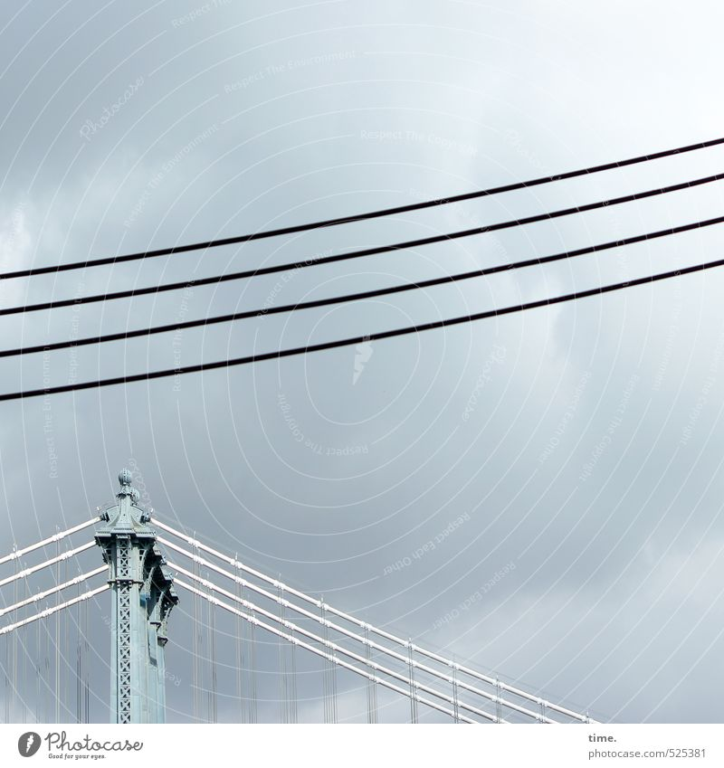 SkyLines Technology Energy industry Steel cable High voltage power line Cable Clouds New York City Bridge Tourist Attraction Landmark Brooklyn Bridge Hang
