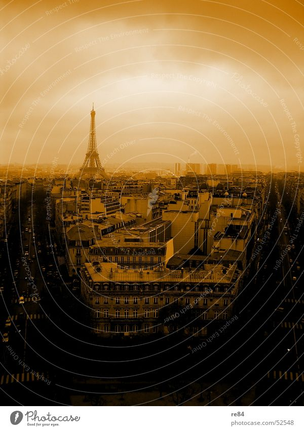 Paris, not Hilton, from the block Eiffel Tower Arc de Triomphe France Town House (Residential Structure) Block Horizon Black Roof Circle Steel Clouds Dreary
