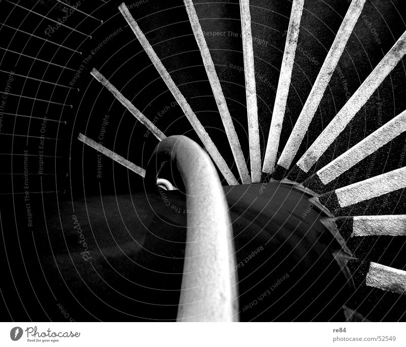 White Black Gray Concrete Stairs Bridge Stripe Cologne Steel Handrail Column Downward Cellar Cement