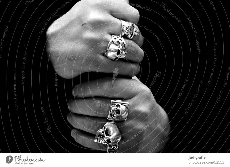 hands Black & white photo Close-up Detail Neutral Background Human being Masculine Man Adults Hand Fingers Jewellery Ring Dark Rebellious Strong Silver White