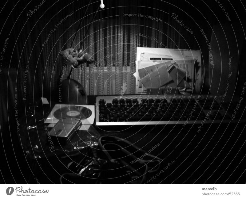 Disorder in B/W Lamp Table Work and employment Window Chaos Desk CD Black & white photo