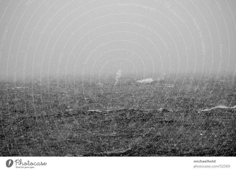 uncertainty Ocean Black White Waves Foam Bad weather Fog Dreary Horizon Gray Ambiguous Dangerous Rough Reckless Snow poor visibility Black & white photo