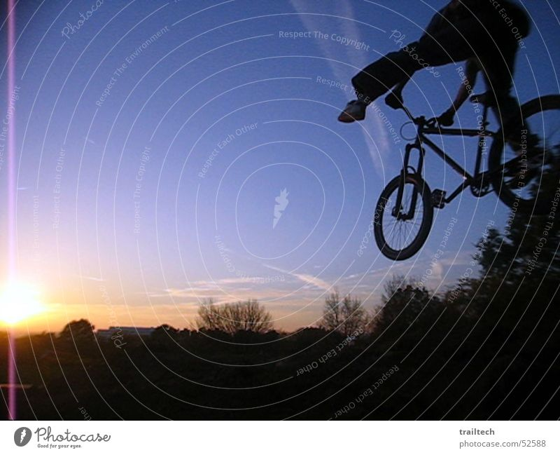 No Foot to Sundown Mountain bike Motorcyclist Territory Dirt Jumping Style Trick Bicycle Sunset Dusk Twilight Silhouette Light Rotate dirt downhill Flying