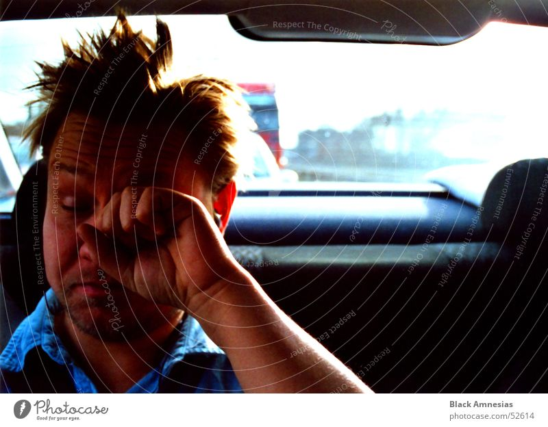 Eyes Hair and hairstyles Car Driving Highway Fatigue Traffic jam Untidy Exasperated Itch