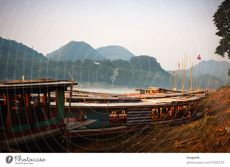 boats at the mekong Vacation & Travel Adventure Far-off places Freedom Summer Environment Nature Landscape Water Forest Hill River Mekong Luang Phabang Laos