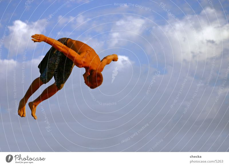 basejump Jump Action Clouds Man Athlete Sports Flying Athletic