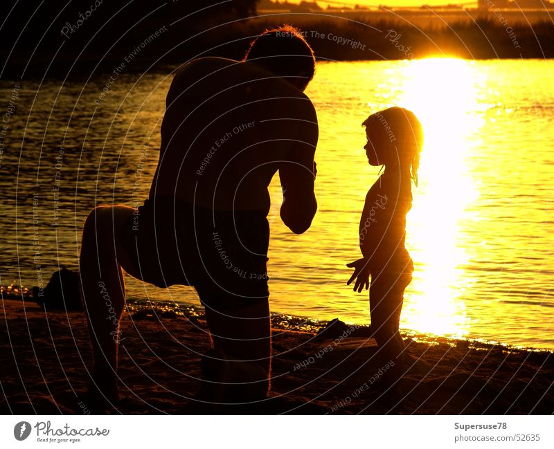 At the river Father Daughter Child Girl Man Summer Beach Back-light Family & Relations Sun Water Evening Rhine River Father's Day