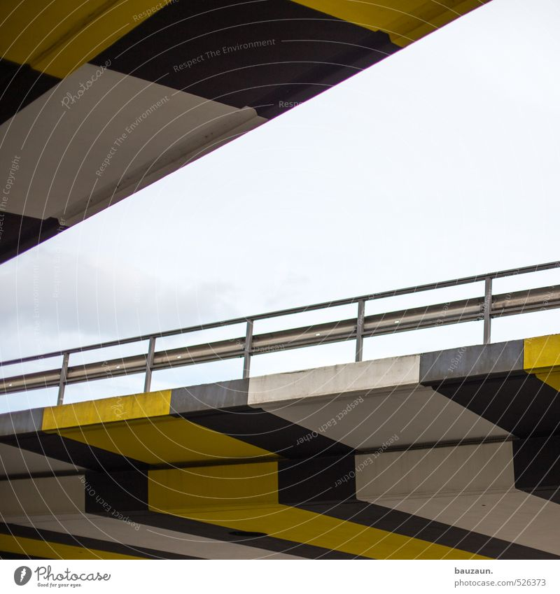 Sky City White Clouds Black Yellow Street Lanes & trails Line Metal Speed Concrete Bridge Change Stripe Friendliness