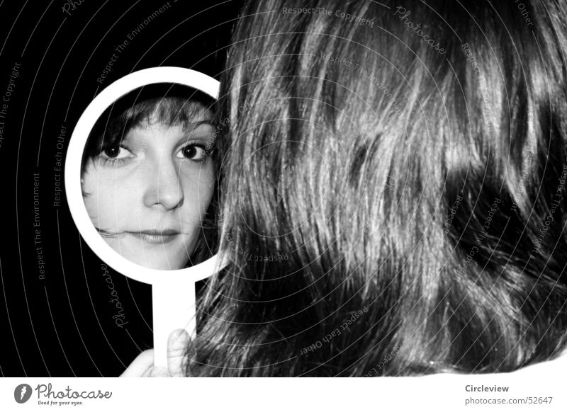 In the mirror #4 Woman Mirror Reflection Black White Human being Portrait photograph Hair and hairstyles Face Head Black & white photo Shadow human shade