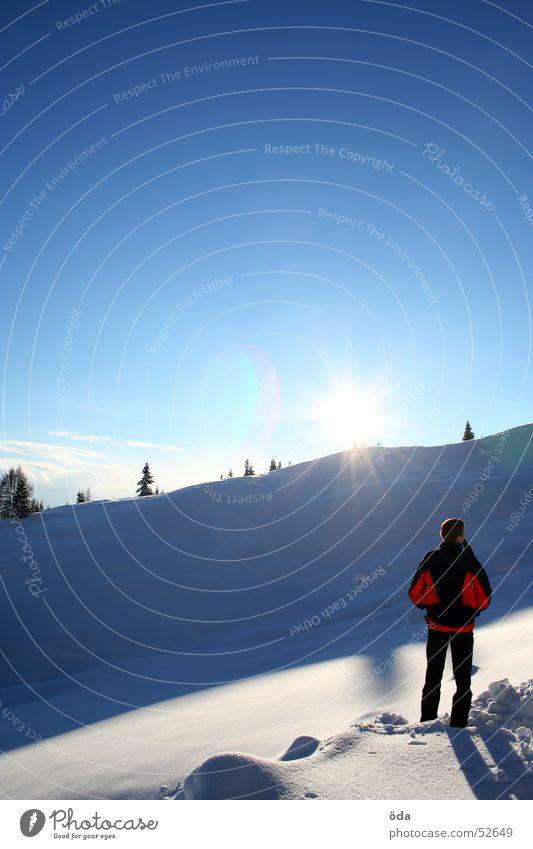 Human being Man Sky Tree Sun Winter Cold Snow Vantage point Jacket To enjoy Extreme Deep snow
