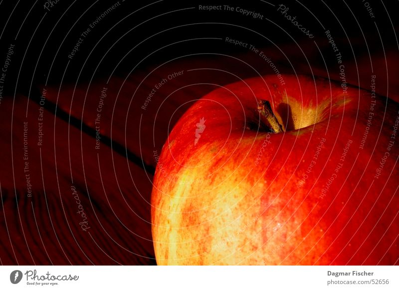 Apple on Wood Colour photo Copy Space left Copy Space top Neutral Background Vegetable Fruit Vegetarian diet Bowl Healthy Sun Delicious Brown Yellow Red