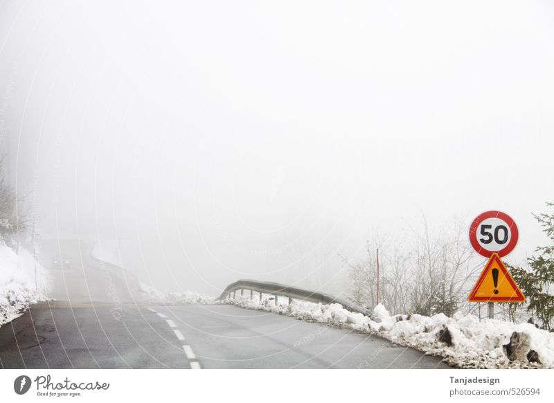 Snow Fog Street Crossroads Lanes & trails Emphasis Speed limit Road marking Notice Winter Groomed Signage Transport Fogged over Ground fog Colour photo
