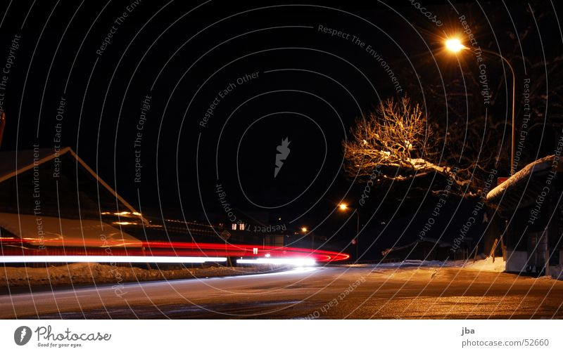 Long-term again Long exposure Light Red White Street lighting Tree Winter Night Dark Speed Branch