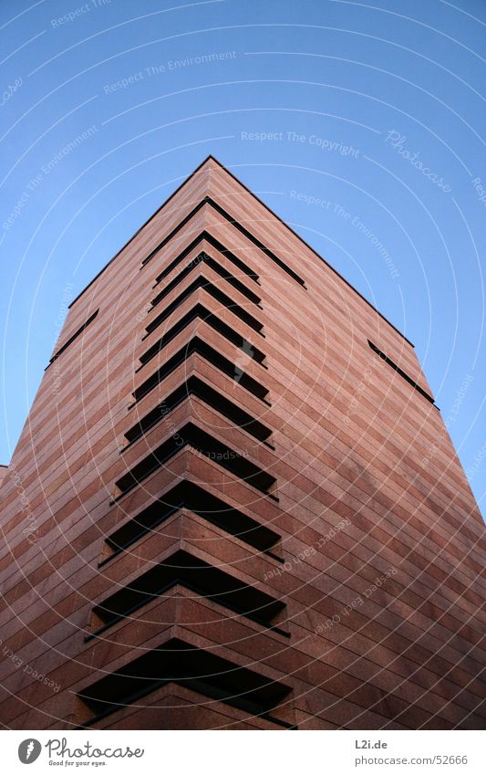 Sky Blue Sun House (Residential Structure) Black Window Wall (building) Wall (barrier) Stone Brown Modern Corner Tower Roof Staircase (Hallway)