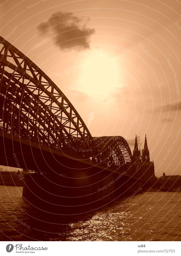 eau de cologne Cologne Town Clouds Reflection Emanation Dome Bridge Rhine Water River Religion and faith Cathedral Sun Orange Contrast Shadow Radiation church
