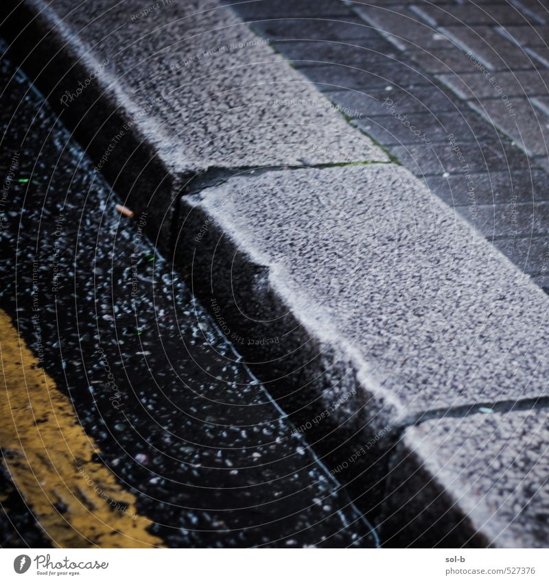 footpath Bad weather Rain Town Transport Street Lanes & trails Dirty Dark Near Wet Footpath Curb Curbstone Road marking Concrete City life Diagonal Broken Old