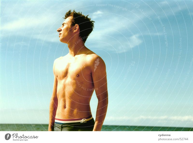 Human being Man Sky Sun Ocean Summer Beach Vacation & Travel Style Body Wet Swimming & Bathing Facial expression Baltic Sea Dazzle Dry