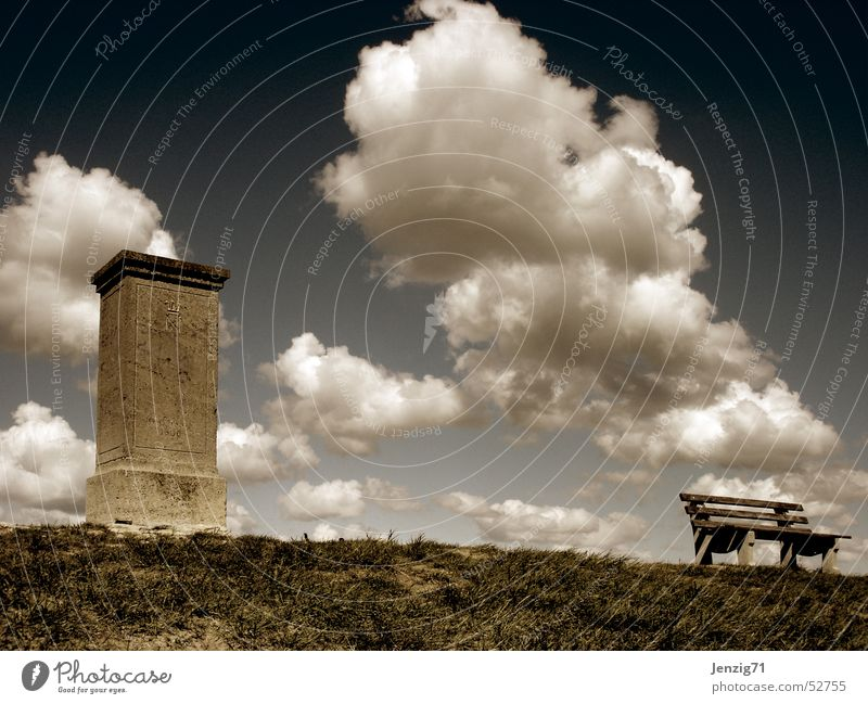 Sky Calm Clouds Autumn Meadow Stone Bench Monument Thuringia Theater of war Battle Jena