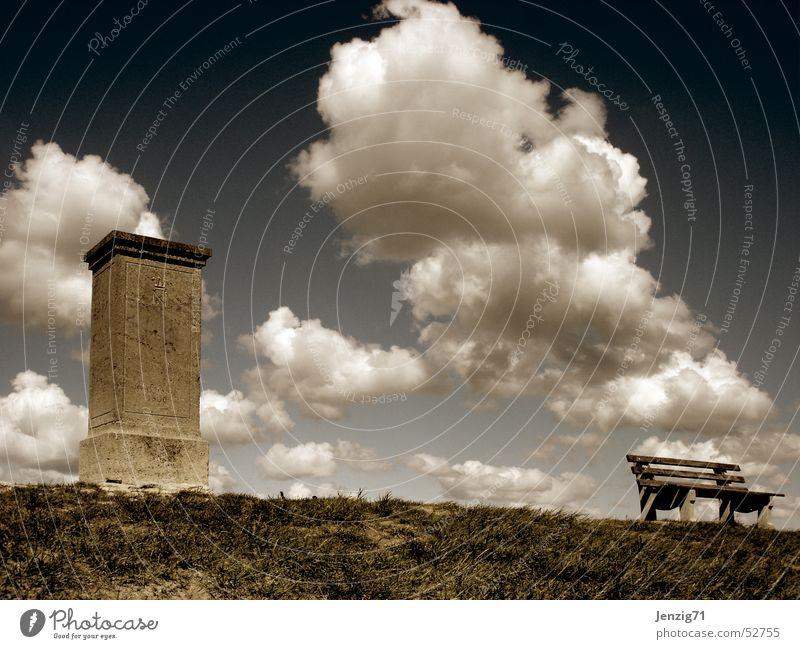 Very quiet. Clouds Monument Battle Theater of war Autumn Meadow Calm Stone Bench memorial stone napoleon stone Napoleon Jena Sky