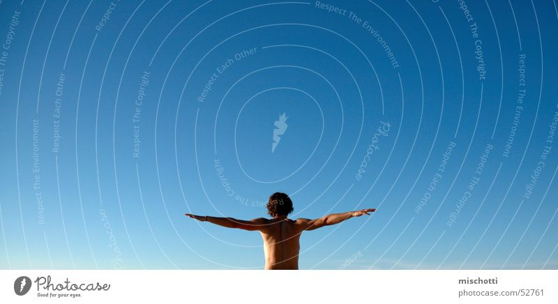 I can fly Upper body Bird Man Sailing Air Far-off places Infinity Flying Blue Sky Human being Arm Body Free Loneliness