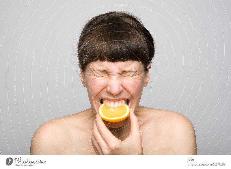 fruity IV Fruit Orange Orange slice Slice of lemon Nutrition Organic produce Vegetarian diet Diet Healthy Healthy Eating Life Well-being Senses Young woman