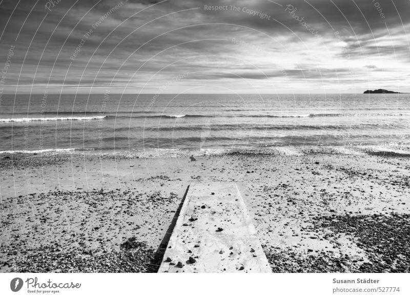 FUSH! Landscape Sky only Sun Beautiful weather Waves Coast Beach Ocean Cold Island Ireland Footbridge Stony Sunlight Black & white photo Exterior shot Deserted