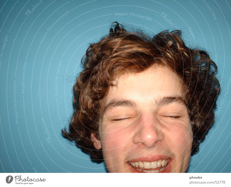 Man Face Eyes Laughter Hair and hairstyles Head Mouth Teeth Lips Fantastic Turquoise Curl