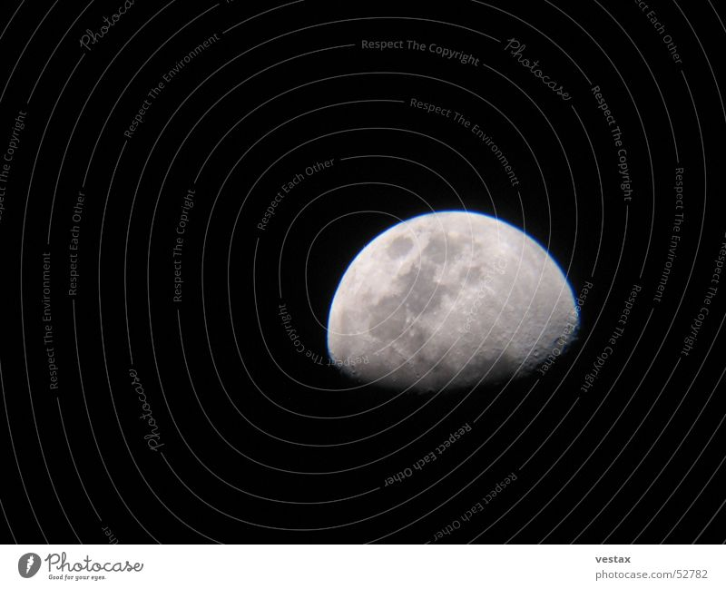 The moon has risen Half moon Night Dark Gray Black Telescope Moon Stars