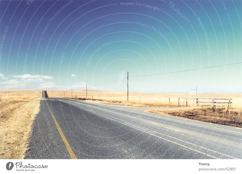 Nature Sky Blue Loneliness Far-off places Street Freedom Lanes & trails Landscape Brown Desert Infinity Vanishing point