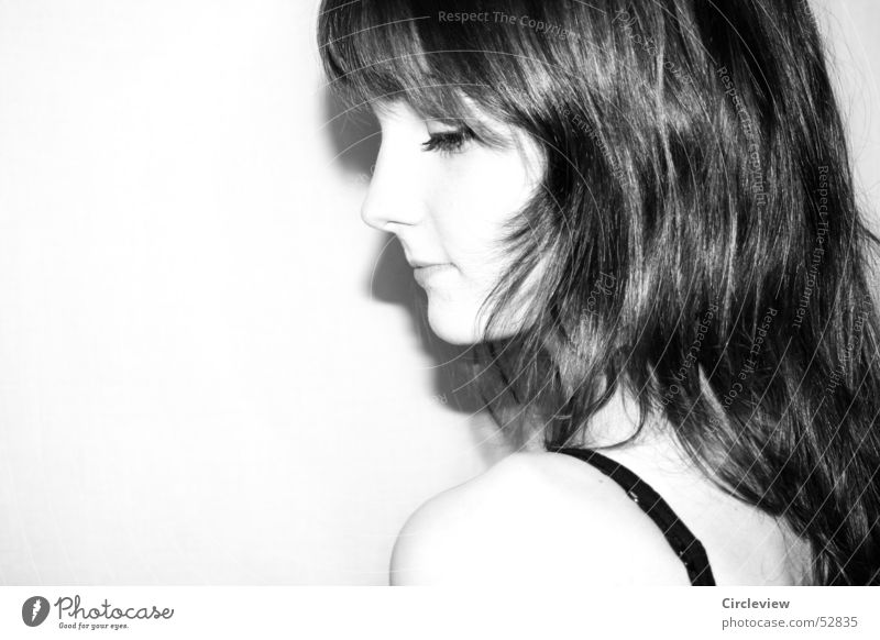 cold shoulder #2 Woman Shoulder Black White Overexposure Friendliness Lips Human being Portrait photograph Grinning Face Eyes Nose Hair and hairstyles