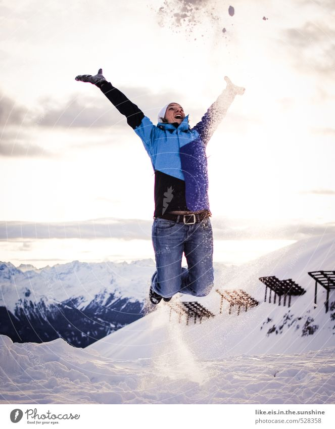 Woman Vacation & Travel Youth (Young adults) Landscape Young woman Joy Winter Far-off places Adults Mountain Life Snow Feminine Freedom Happy Jump