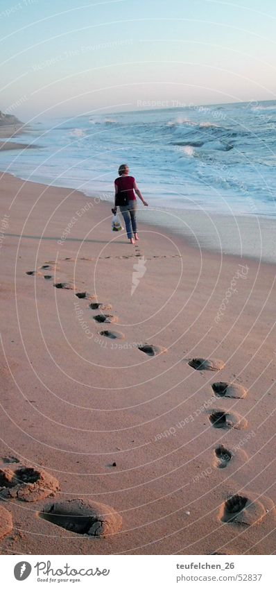 Water Ocean Beach Loneliness Sadness Sand Waves Coast To go for a walk Footprint Tracks Portugal