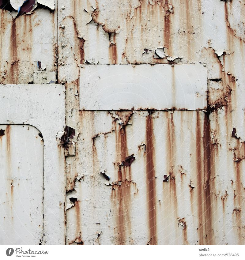 closing time Container Wall (barrier) Wall (building) Old Rust Tracks Tin Metal Derelict Abrasion Morbid Ravages of time exterior wall Crack & Rip & Tear Dye