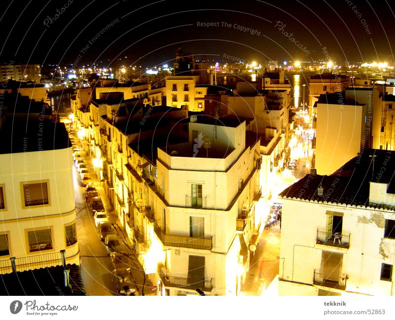ibiza @ night Ibiza Town House (Residential Structure) Night Sea of light Window Dark Mixture Street Light
