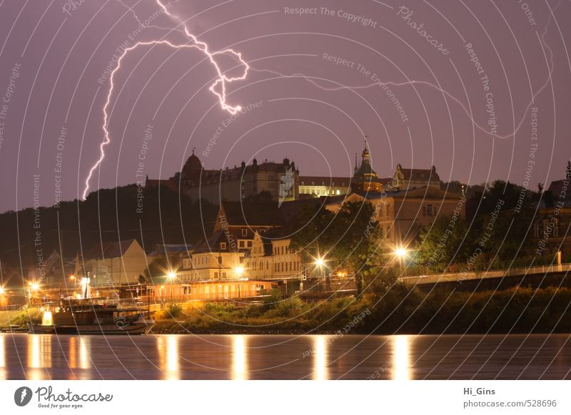 Pirna at Thunderstorm Storm clouds Thunder and lightning Lightning Small Town House (Residential Structure) Castle Energy Nature Colour photo Exterior shot
