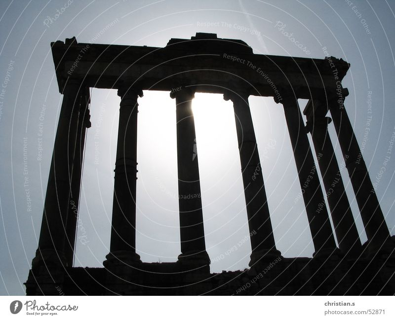 Temple of Saturn. Rome Deities Ancient Sky Italy Back-light Novel Europe Historic House of worship Römerberg backlight Forum Romano gods history sun