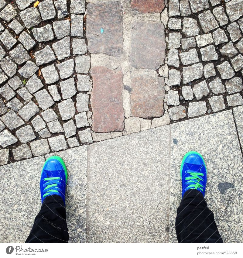 Human being Blue Old City Green Feminine Gray Berlin Stone Legs Feet Tourism Stand Culture Past Pain