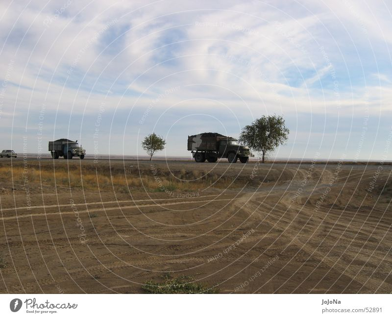 transport through the steppe Kazakhstan Truck Steppe Logistics Far-off places