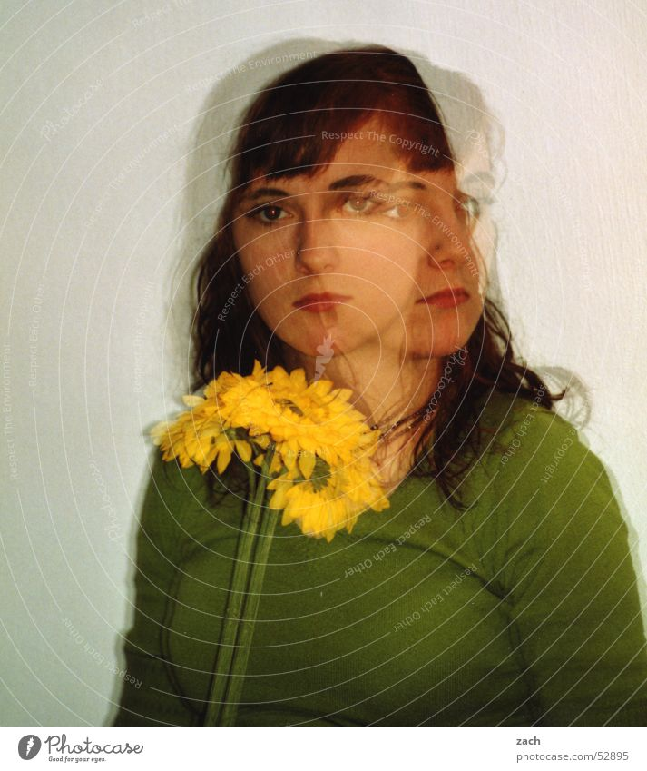 Picasso? Double exposure Portrait photograph Green Woman Girl Flower Yellow 2 Twin Perspective Converse Direction Beautiful Face a matter of opinion