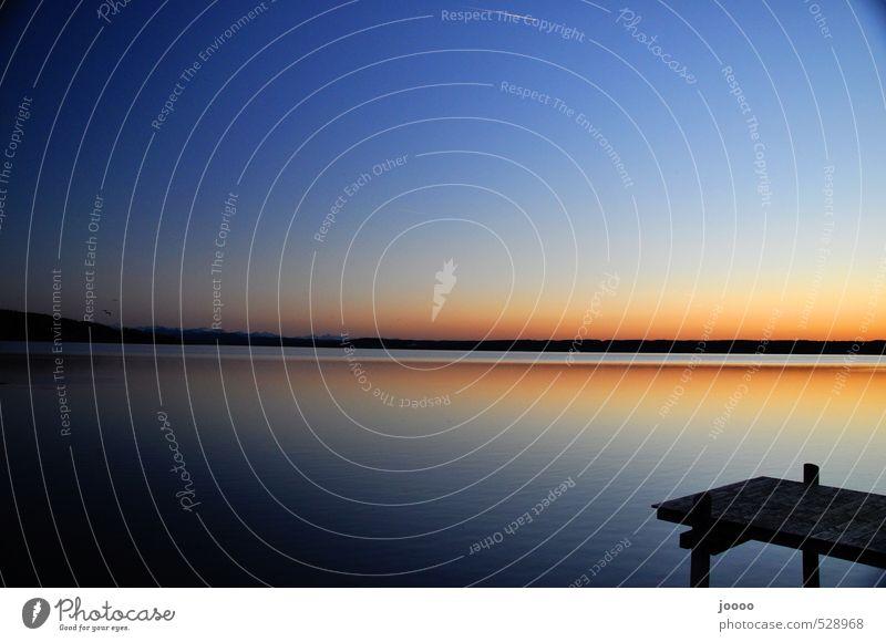Sky Water Landscape Calm Horizon Orange Esthetic Alps Lakeside Cloudless sky Footbridge Lake Ammer