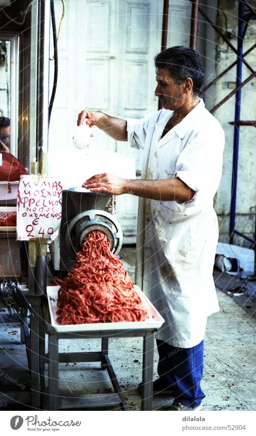 carnicero a la carne Nutrition Greece Man Meat White Butcher Work and employment Town colour. process c41 blue market color. edit c41 Food Markets work old man