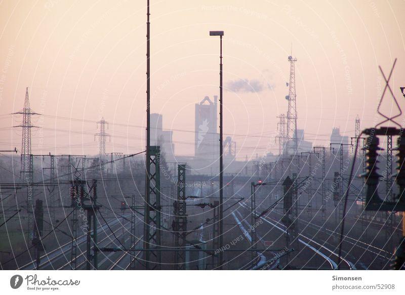 Railroad Electricity Factory Railroad tracks Lantern Electricity pylon Wire