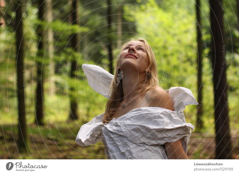 Human being Nature Youth (Young adults) Beautiful Green White Tree Young woman 18 - 30 years Forest Adults Feminine Emotions Freedom Dream Blonde