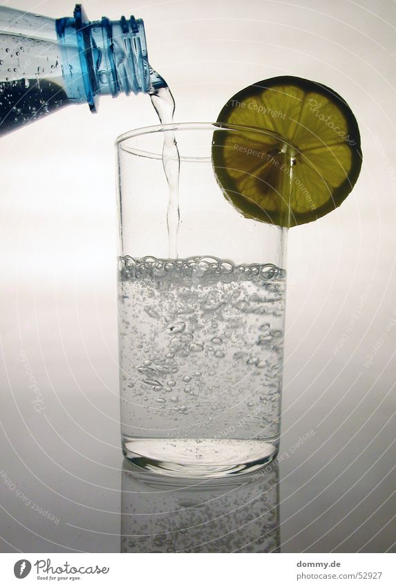 Lemon water II Drinking Mineral water Round White Water Glass Cast Fill Nature Silver Bottle Neck Fluid