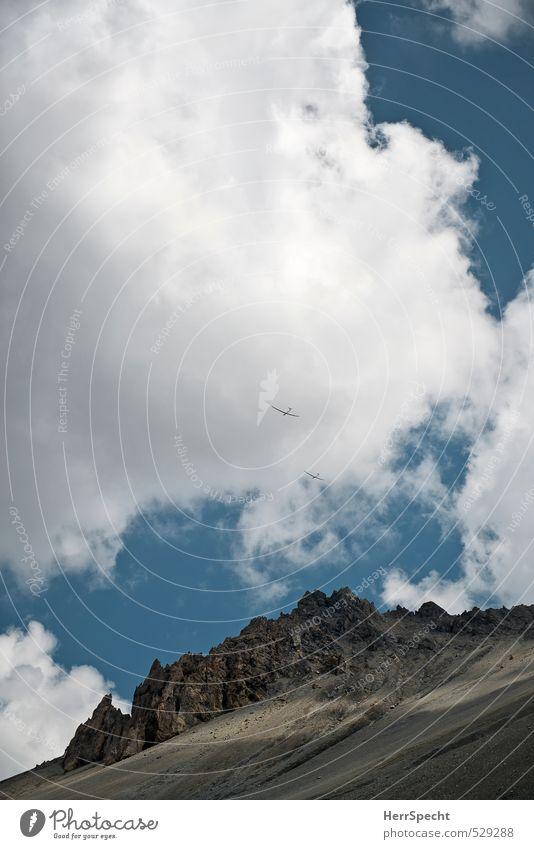 sky duo Leisure and hobbies Trip Adventure Freedom Environment Nature Landscape Sky Clouds Sun Beautiful weather Rock Alps Mountain Peak France Hautes-Alpes
