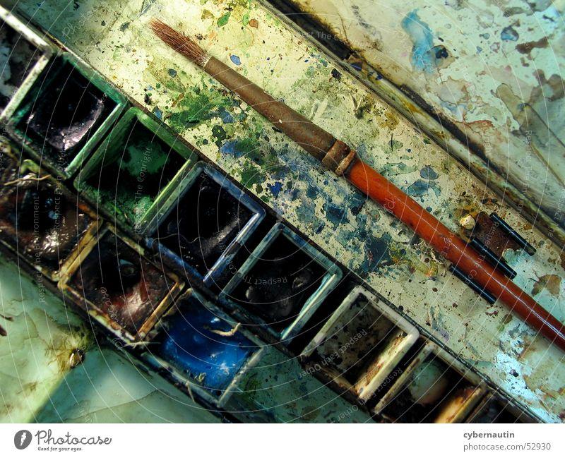 watercolour box Paintbrush Watercolors Multicoloured Colour Painting (action, work) paint splashes