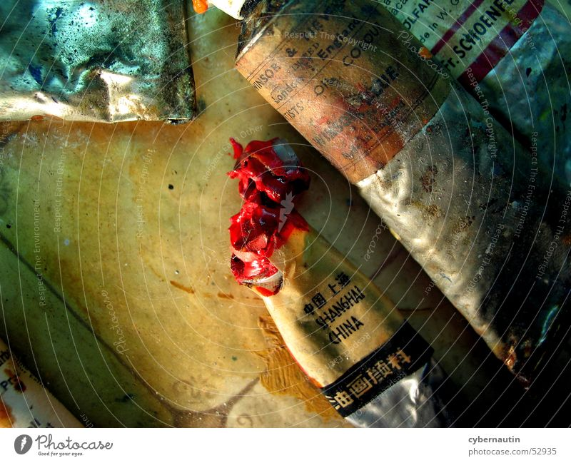 oil paints Oil paint Tube Red Art Atelier Painting (action, work) Metal Colour