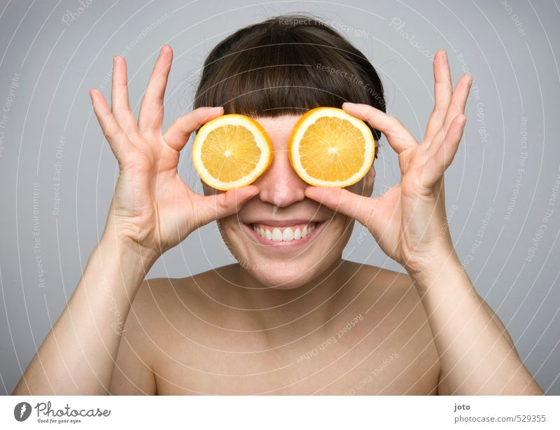 fruity I Food Fruit Orange Orange slice Nutrition Organic produce Vegetarian diet Joy Healthy Healthy Eating Life Well-being Contentment Young woman