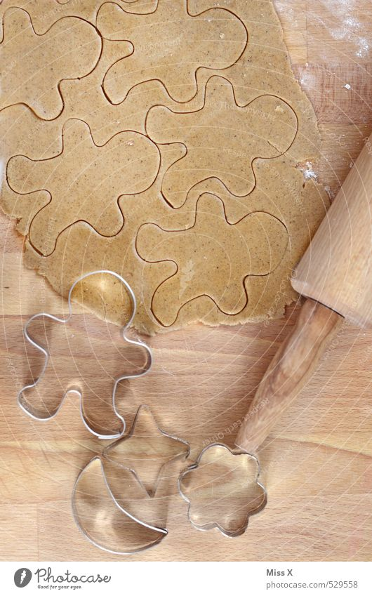 Man Christmas & Advent Food Nutrition Cooking & Baking Sweet Delicious Candy Baked goods Wooden table Dough Raw Cookie Flour Christmas biscuit Pierce
