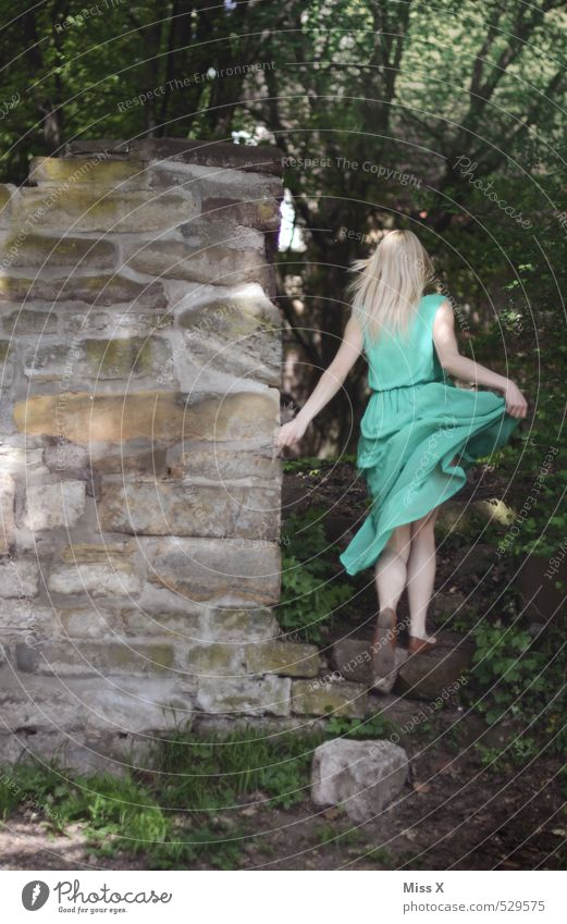 with swing / shy deer Human being Feminine Young woman Youth (Young adults) 1 18 - 30 years Adults Nature Forest Castle Ruin Wall (barrier) Wall (building)